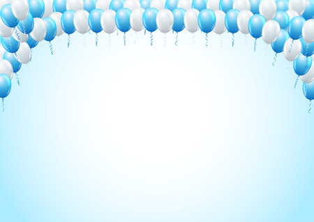 Blue Colored Balloons Top Framed Page Template For Birthday