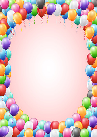 birthday party background: Colored balloons  frame A4 proportions page template for  birthday or party invitation. Vector background Illustration