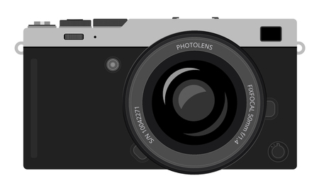 beginner: Mirrorless interchangeable lens digital photo camera, MILC with popular retro silver woth lther. Flat style vector illustration
