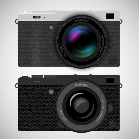 exist: Mirrorless interchangeable lens digital photo camera, MILC with popular retro silver with leather design. Generalized design, not copy of any exist camera, Realistic vector EPS10 illustration on white background.