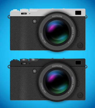 generalized: Mirrorless  digital photo cameras, MILC with retro dark and silver  designs.  Vector  illustration on white background.