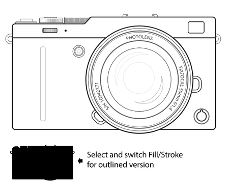 to exist: Mirrorless interchangeable lens digital photo camera, line blueprint view. Generalized design, not copy of any exist camera. Outline vector  illustration