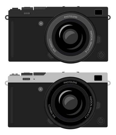 generalized: Mirrorless interchangeable lens digital photo camera, MILC with popular retro dark and modern white design. Generalized design, not copy of any exist camera. Flat vector EPS10 illustration on white background.