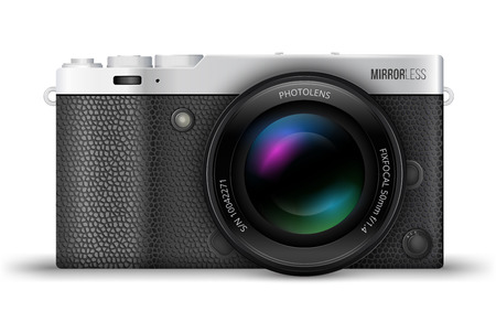 generalized: Mirrorless interchangeable lens digital photo camera, MILC with popular retro silver with leather design. Generalized design, not copy of any exist camera. Realistic vector EPS10 illustration on white background.