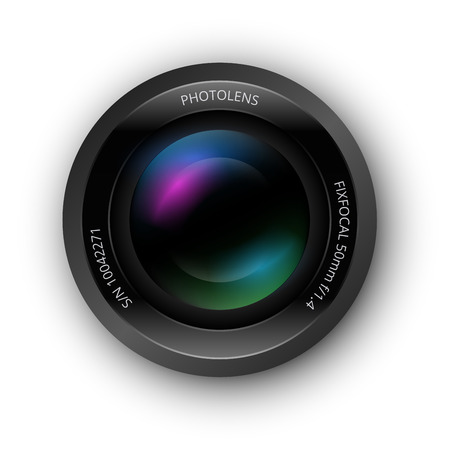 focal: Lens for camer, realistic vector icon, isolated on white