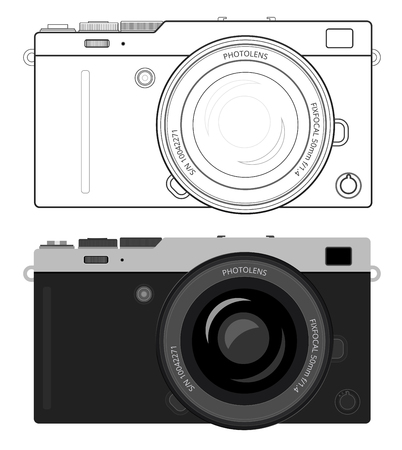 exist: Mirrorless interchangeable lens digital photo camera, MILC with popular retro silver with leather design. Generalized design, not copy of any exist camera. Flat and outline variants of vector  illustration