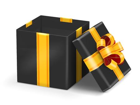 ruban noir: Ouvrir coffret cadeau noir avec ruban d'or arc. Vector illustration