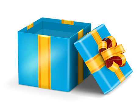 blue gift box: Open blue gift box with gold ribbon bow. Vector illustration