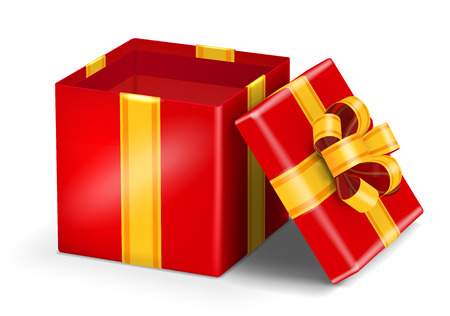 red ribbon bow: Open red gift box with gold ribbon bow. Vector illustration Illustration