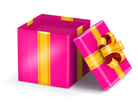yelow: Open pink gift box with gold ribbon bow. Vector illustration