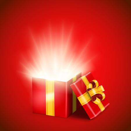 Abra la caja de regalo roja con los rayos luminosos brillantes adentro. Ilustración del vector.