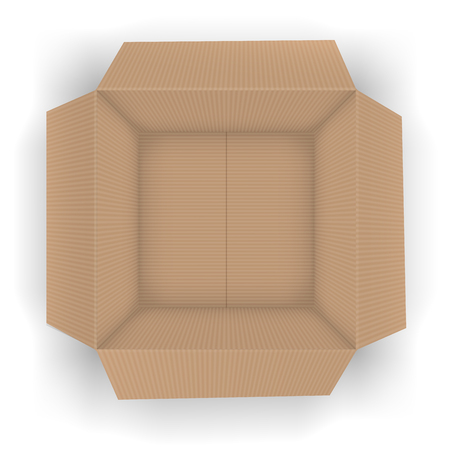 brown box: Recycle brown opened  package, top view to open box.