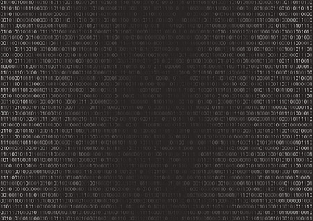 listing: Gradient fall off binary code screen listing table cypher, black, vector background Illustration