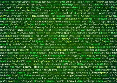 Source code screen of abstract computer program listing . Vector green background Illustration