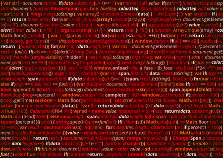 html: Abstract program code. Screen  of source code script. Vector red background Illustration