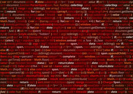 Abstract program code. Screen  of source code script. Vector red background Vectores