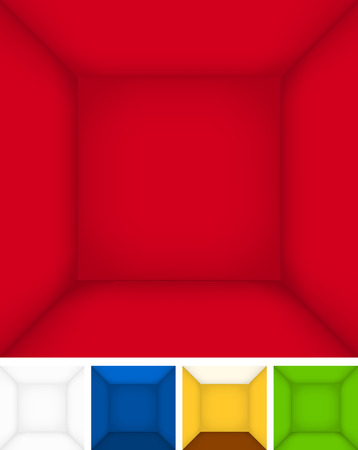 show case: Empty rooms colored  templates, walls with perspective. Vector background with separated layers