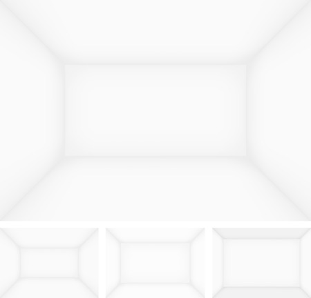 show case: Empty room templates, walls with different deep. Vector background with separated layers