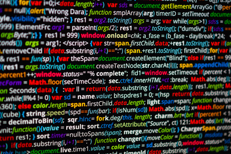 syntax: Abstract program code screenshot. Screen of colored lighted syntax of source code script with defocus Stock Photo
