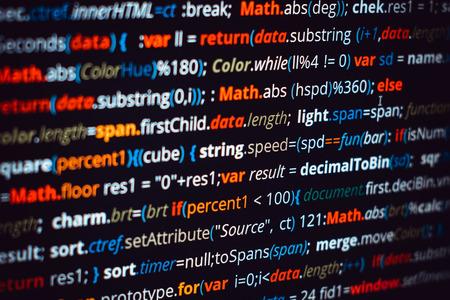 Capture d'écran du code programme programmé. Écran de syntaxe colorée du script de code source avec défocalisation