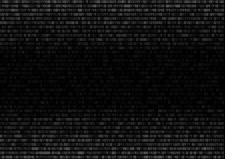 Gradient fall off binary code screen listing table cypher, black, vector background Illustration