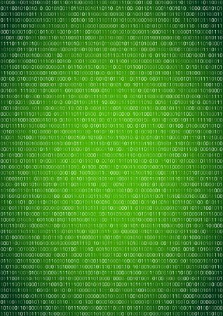 cryptic: Binary machine code, computer program listing.  Vertical vector a4 green background Illustration