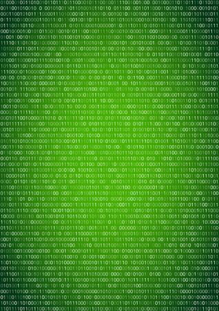 Binary machine code, computer program listing.  Vertical vector a4 green background Illustration