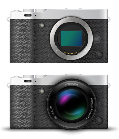 generalized: Mirrorless  digital photo cameras with open matrix and with lens, MILC retro silver  designs.  Vector  illustration
