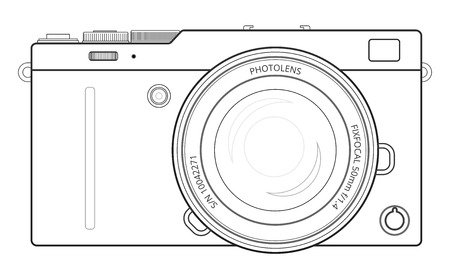 generalized: Mirrorless interchangeable lens digital photo camera, line blueprint view. Outline vector  illustration Illustration