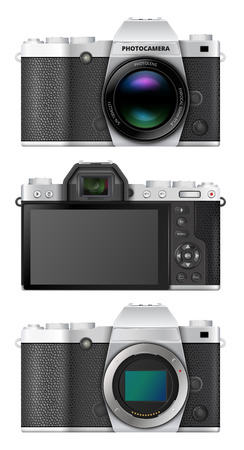 generalized: Premium class mirrorless interchangeable lens digital photo camera with big electronic viewfinder EVF, retro design. Vector illustration Illustration