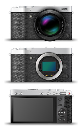 digital camera: Mirrorless  digital photo cameras with open matrix. lens and back view to scren and interface, MILC retro black metal  designs.  Vector  illustration