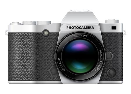macchina fotografica: Fotografia macchina fotografica reflex stile retrò con grande mirino ottico. illustrazione di vettore