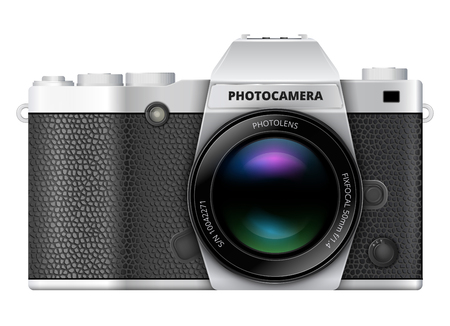 camera: SLR retro style photo camera with big optical viewfinder. Vector illustration