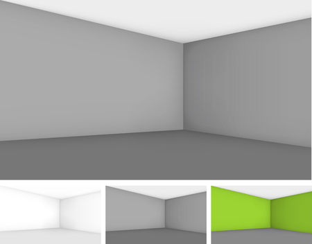 show case: Set of empty room templates different colors, walls with perspective. Vector background