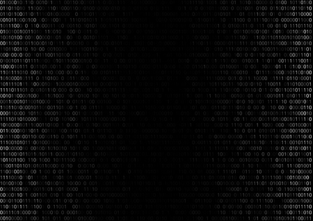 cypher: Gradient fall off binary code screen listing table cypher, black, vector background Illustration