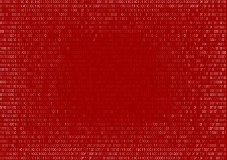 rot: Gradient Binärcode Bildschirm tabellarischen Auflistung Chiffre rot fallen, Vektor-Hintergrund Illustration