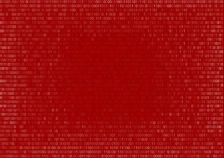 red: Gradient fall off binary code screen listing table cypher red, vector background