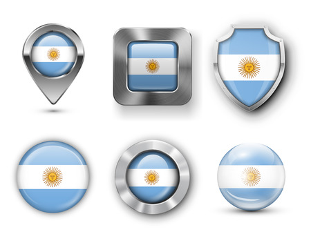 argentina map: Argentina Metal and Glass  Flag Badges, Buttons, Map marker pin and Shields. Vector illustrations