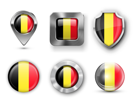belgium flag: Belgium Metal and Glass Flag Badges, Buttons, Map marker pin and Shields. Vector illustrations Illustration
