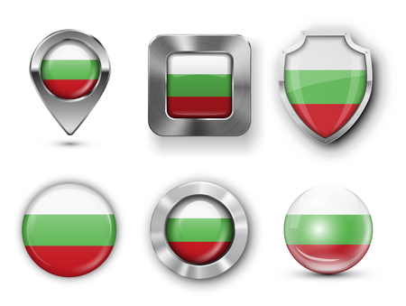 metal button: Bulgaria Metal and Glass Flag Badges, Buttons, Map marker pin and Shields. Vector illustrations