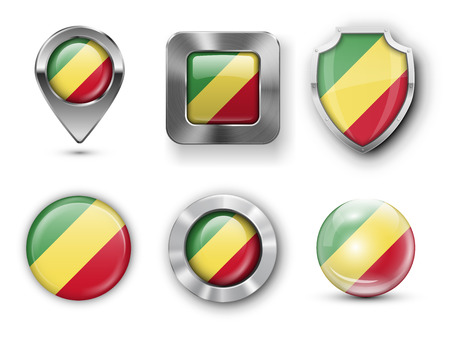 republic of the congo: Congo Republic Metal and Glass Flag Badges, Buttons, Map marker pin and Shields. Vector illustrations