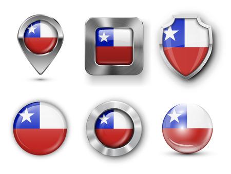 bandera de chile: Chile metal y cristal de la bandera insignias, botones, pines Mapa marcador y Shields. Ilustraciones del vector