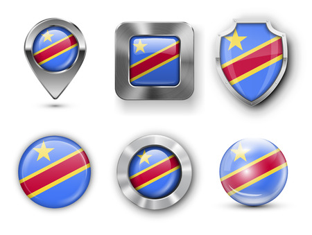 zaire: Democratic Republic of the Congo, Zaire, Metal and Glass Flag Badges, Buttons, Map marker pin and Shields. Vector illustrations Illustration