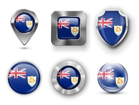 anguilla: Anguilla Metal and Glass Flag Badges, Buttons, Map marker pin and Shields. Vector illustrations