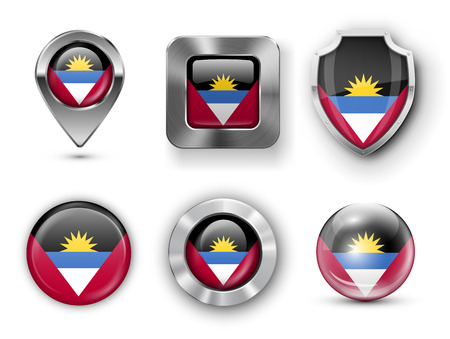 barbuda: Antigua and Barbuda Metal and Glass Flag Badges, Buttons, Map marker pin and Shields. Vector illustrations Illustration
