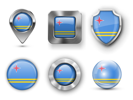 aruba flag: Aruba Island Metal and Glass Flag Badges, Buttons, Map marker pin and Shields. Vector illustrations Illustration
