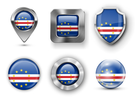 praia: Cape Verde Metal and Glass Flag Badges, Buttons, Map marker pin and Shields. Vector illustrations