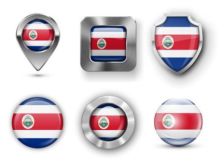 bandera de costa rica: Costa Rica metal y cristal de la bandera insignias, botones, pines Mapa marcador y Shields. Ilustraciones del vector