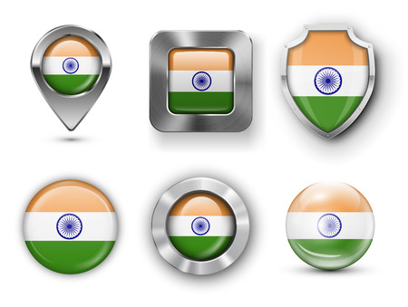 pointer emblem: India Metal and Glass Flag Badges, Buttons, Map marker pin and Shields. Vector illustrations