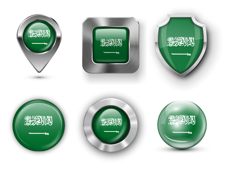 pointer emblem: Saudi Arabia Metal and Glass Flag Badges, Buttons, Map marker pin and Shields. Vector illustrations
